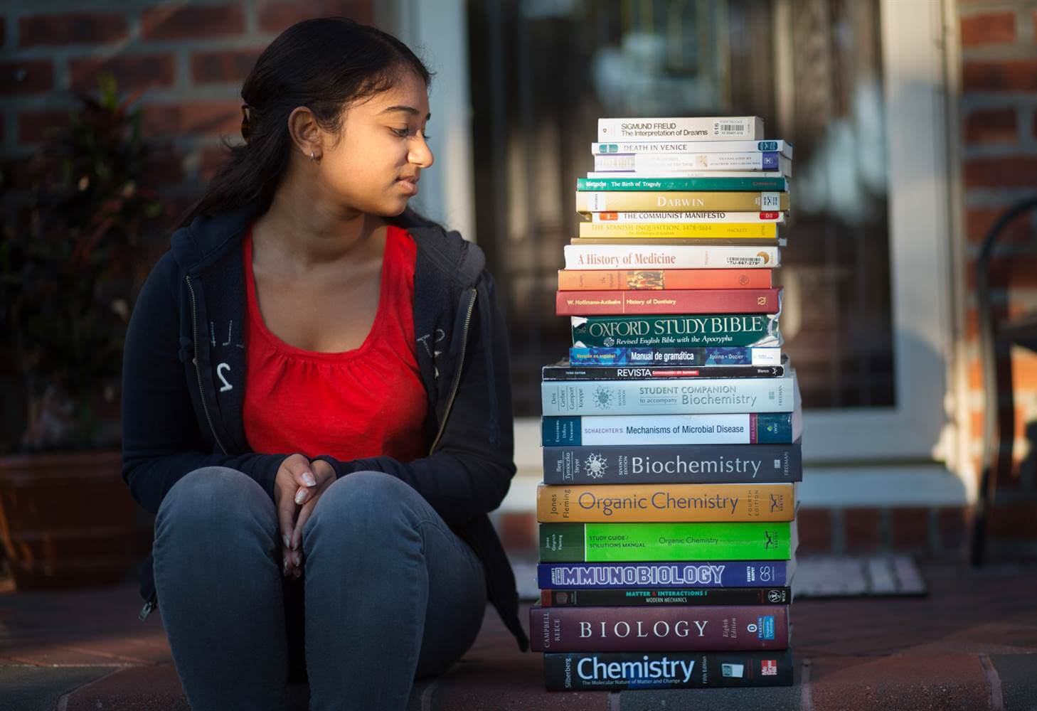 university student with textbook