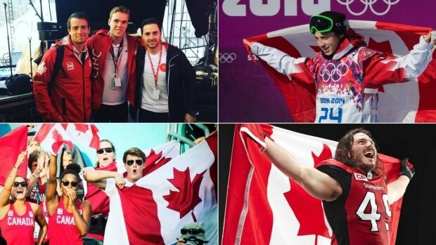 Canadian athletes celebrate their nation's 150th birthday.