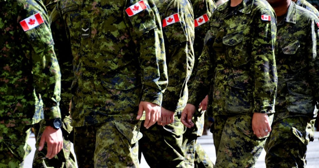 Canadian Soldiers in Camo Marching