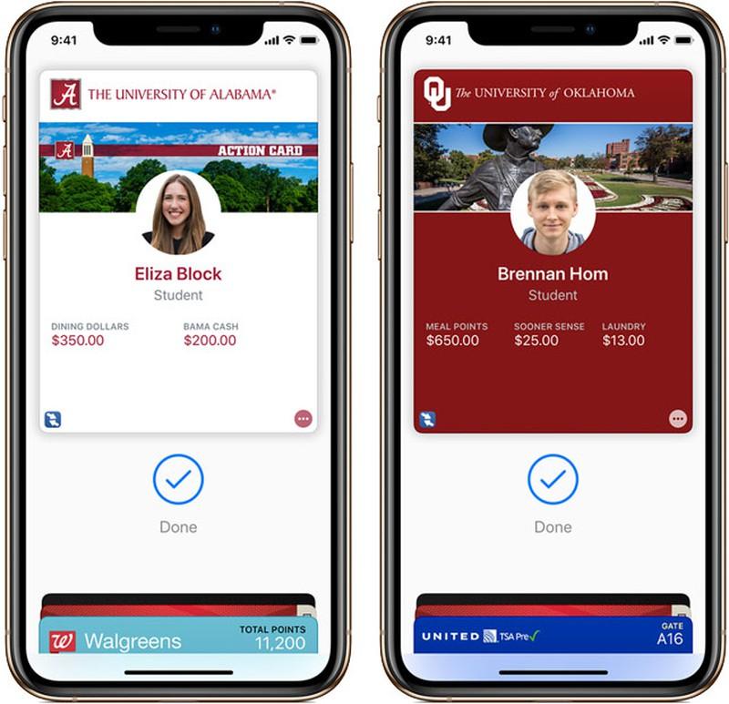 University of Alabama, and the University of Oklahoma/ apple wallet Student ID